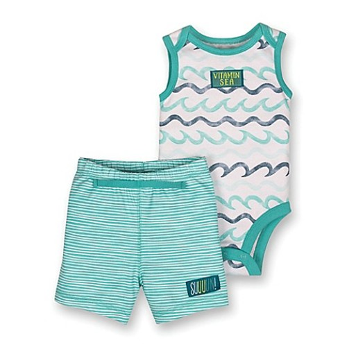 Lamaze Newborn 2-Piece Wave Sleeveless Bodysuit and Short Set in Aqua
