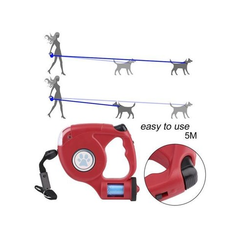 16ft Retractable Dog Leash LED Light&Garbage Bags Pet Extending Walking Leads red