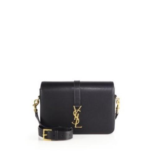SAINT LAURENT Monogram Universite Medium Grained Leather Crossbody Bag