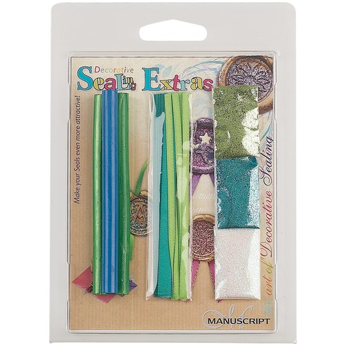 Decorative Sealing Extras Blue/Green Wax, Ribbon, Glitter