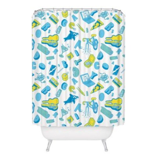 Broad City Collection Shower Curtain in Blue/Green