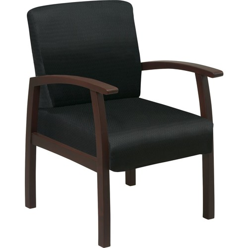Office Star Black Fabric with Espresso Finish Wood Guest Chair