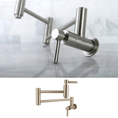 Concord Satin Nickel Wallmount Pot-filler Kitchen Faucet