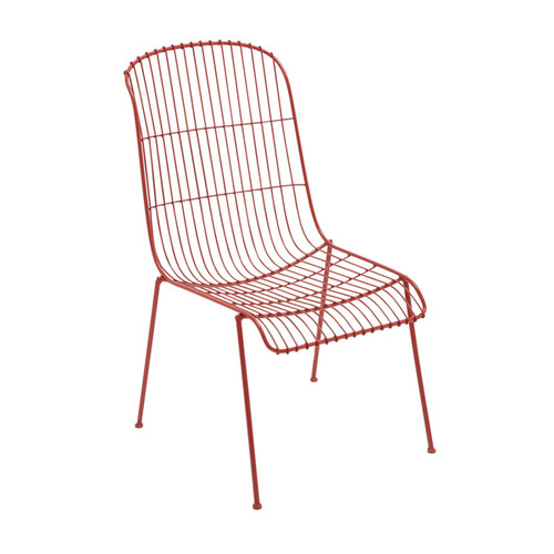 Contemporary 37 Inch Whimsical Red Metal Wire Chair by Studio 350