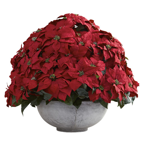 Nearly Natural Giant Poinsettia Arrangement w/Decorative Planter