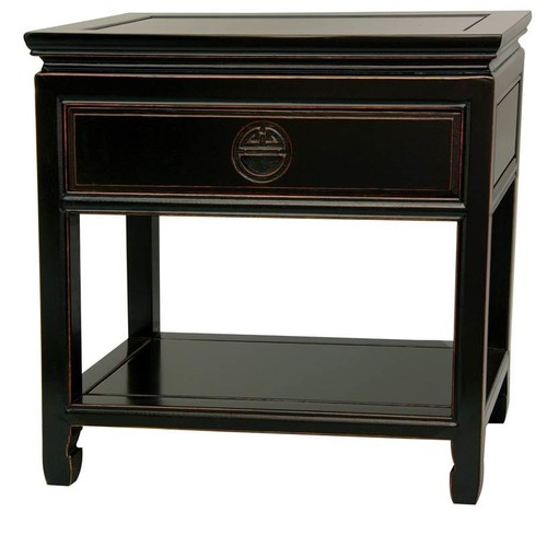 Oriental Furniture Rosewood Bedside Table in Antique Black