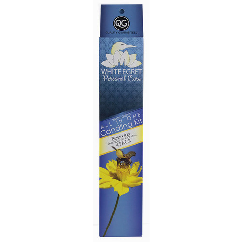 White Egret Personal Care All In One Candling Kit Beeswax -- 4 Candles