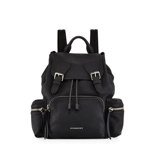 Rucksack Medium Leather Chain Backpack, Black