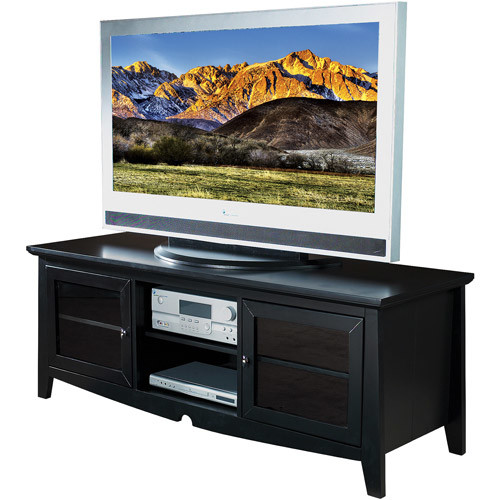 Office Star 60-Inch Solid Wood and Veneer TV Stand with Storage Compartments and Side Folding Construction, Black [Black]