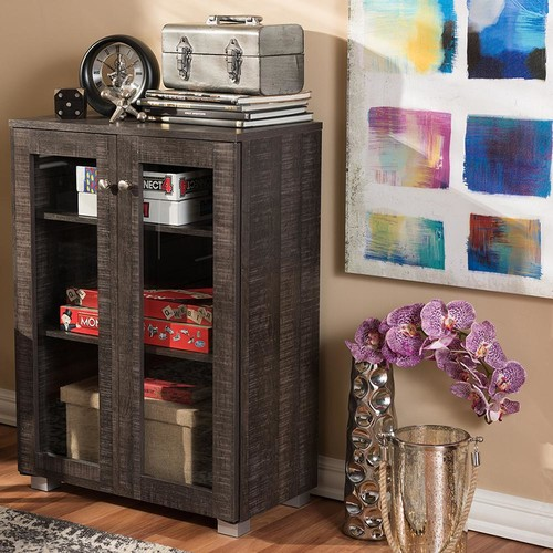 Baxton Studio Nason Dark Brown Storage Cabinet