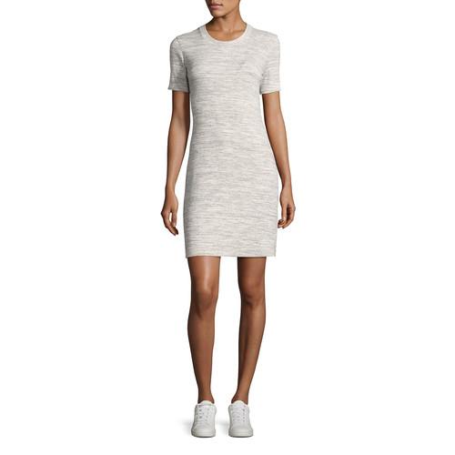 THEORY Cherry B3 Stirling Rib-Knit Shirt Dress, Gray
