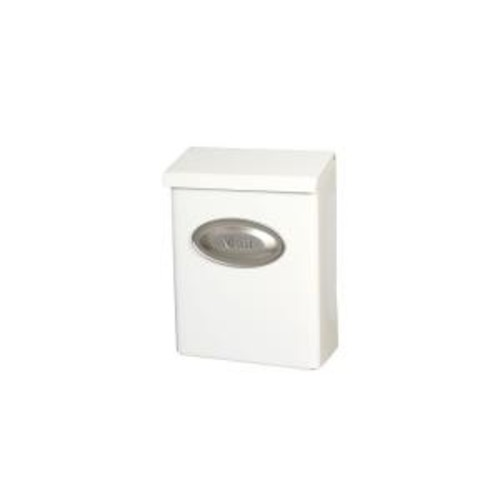 Gibraltar Mailboxes Designer White Satin Nickel Decorative Emblem Vertical Wall-Mount Locking Mailbox