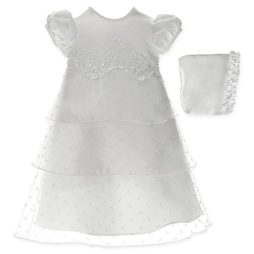 Lauren Madison Size 0-3M Triple-Tiered Christening Dress and Hat