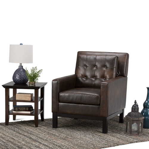 WYNDENHALL Cassidy Distressed Brown Bonded Leather Club Chair