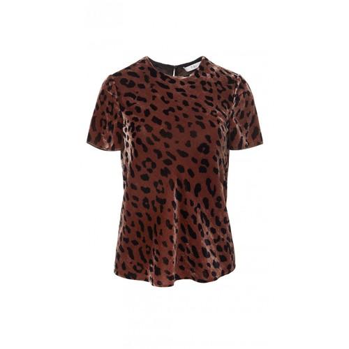 TIBI Cheetah On Silk Velvet Bias Tee