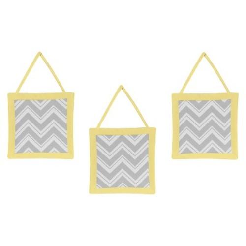 Sweet Jojo Designs Yellow and Gray Zig Zag Wall Hangings