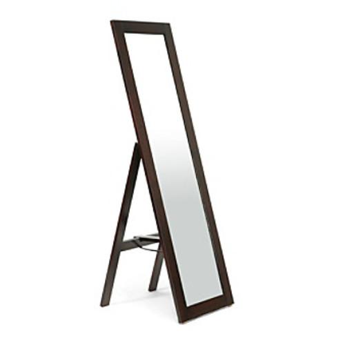 Baxton Studios Lund Dark Brown Wood Modern Mirror with Built-In Stand