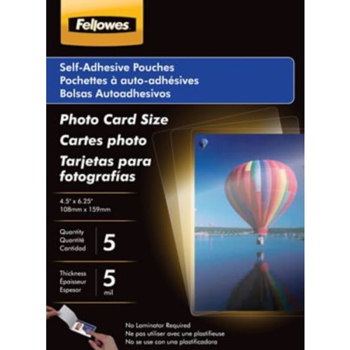 Fellowes Laminating Pouches - Photo Size Self-Adhesive, 5 mil, 5 pack
