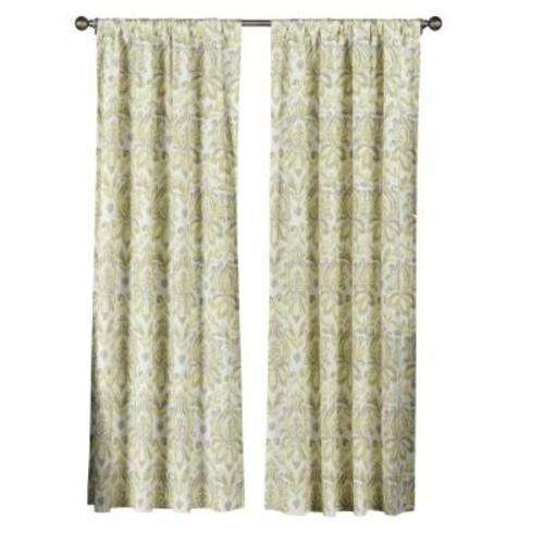 Creative Home Ideas Semi-Opaque Biltmore 100% Cotton Extra Wide 84 in. L Rod Pocket Curtain Panel Pair, Yellow/Grey (Set of 2)