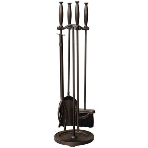 Uniflame F-1665 5 Piece Bronze Fireset with Cylinder Handles