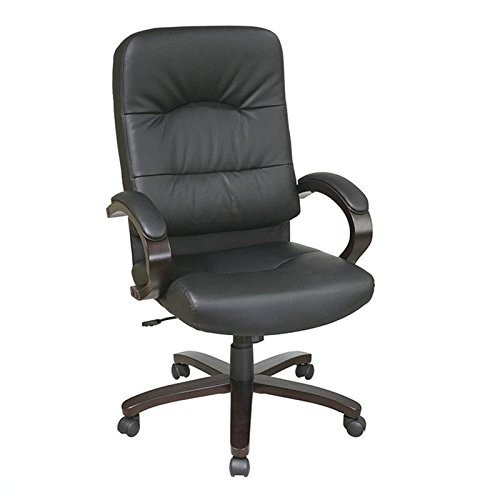 Office Star Products Executive Black Eco Leather High Back Chair with Espresso Finish Wood Base [Black]
