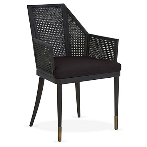 kara mann for milling road Cane Armchair, Noir Black