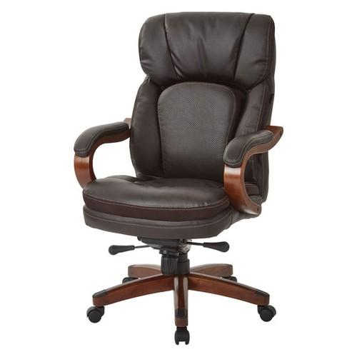 INSPIRED by Bassett Van Buren Espresso Bonded Leather Knee Tilt Executive Chair