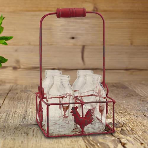 Stonebriar Collection Decorative Milk Bottle & Rooster Basket 5-piece Set