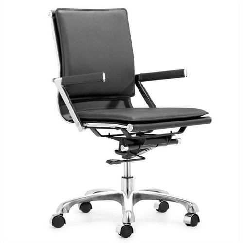 ZUO Lider Plus Black Leatherette Office Chair