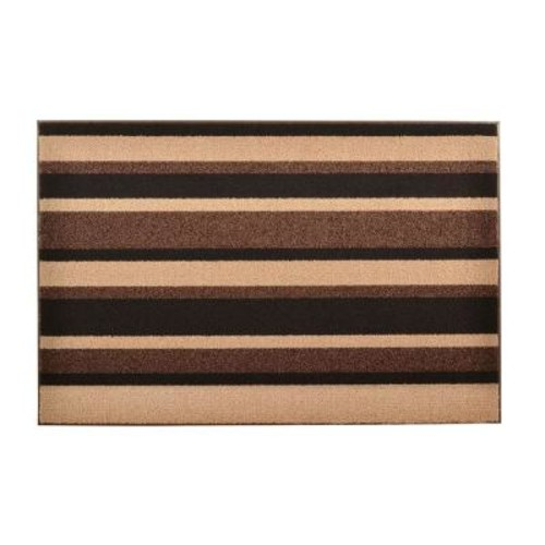 HomeTrax Designs Textura Brown 18 in. x 30 in. Vinyl-Backed Entrance Mat