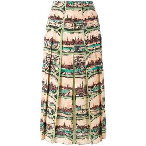 GUCCI Cityscape Pleated Skirt