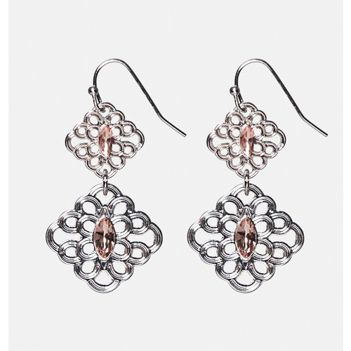 Scrolling Diamond Drop Earrings
