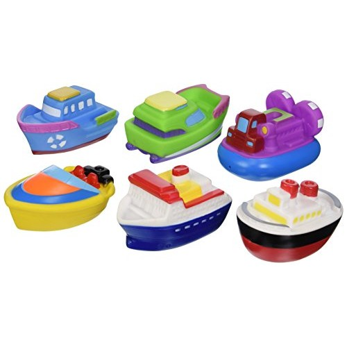 Elegant Baby Bath Time Fun Rubber Water Squirties Vinyl Zip Storage Bag, Boat Party, Set of 6 [Boats]