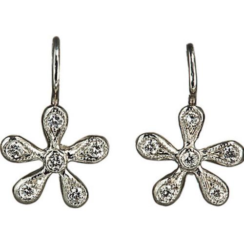 Cathy Waterman Pave Diamond Medium Daisy Earrings