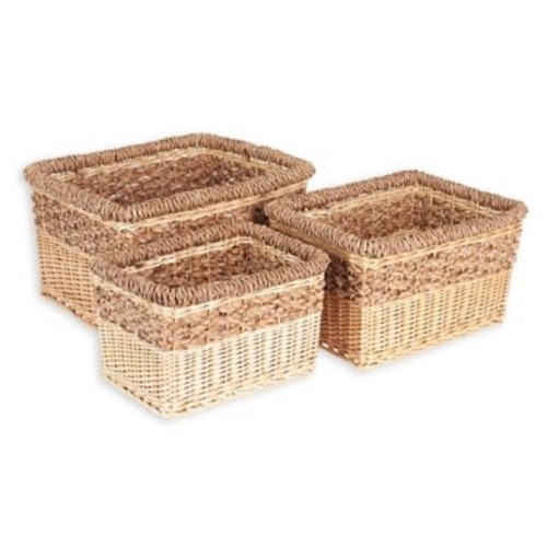 Household Essentials 3-Piece Starling Wicker Storage Basket Set in Natural Brown