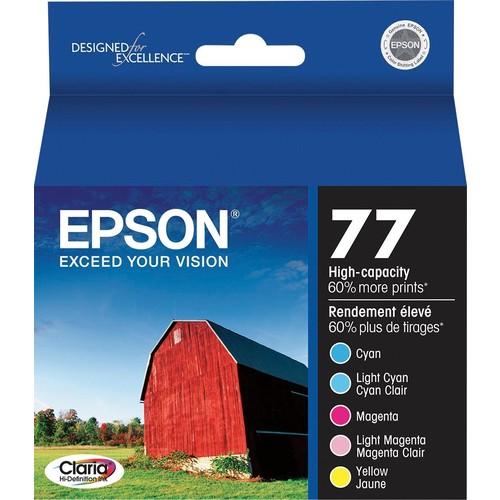 Epson - 77 5-Pack High Yield Ink Cartridges - Cyan/Magenta/Yellow/Light Cyan/Light Magenta