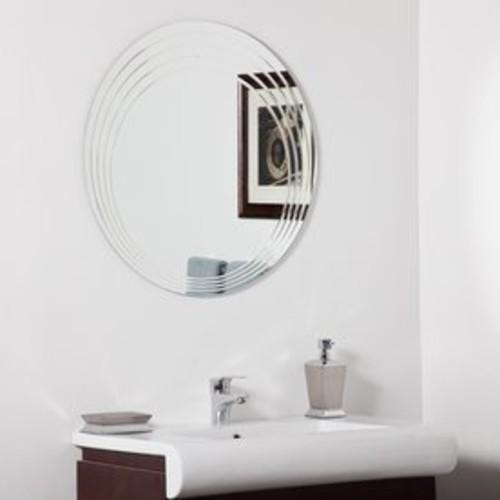 Decor Wonderland Bryn 27.6-in x 27.6-in Round Frameless Bathroom Mirror