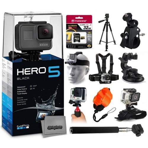 GoPro HERO5 Black + 32GB, Tripod, Selfie Stick, Stabilizer, 6 Mounts