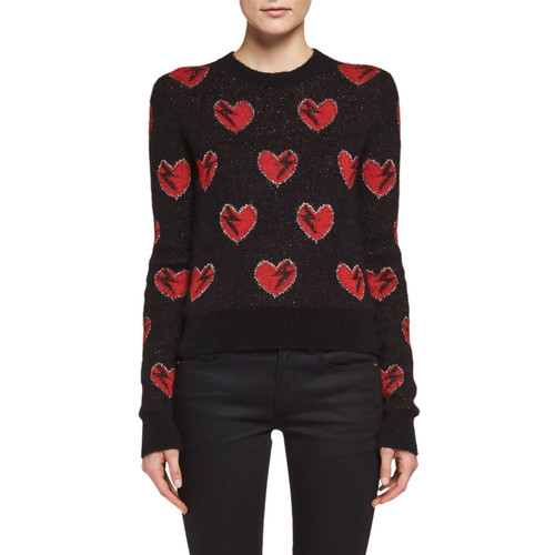SAINT LAURENT Long-Sleeve Heart Sweater, Black/Red