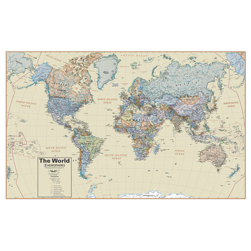 Hemispheres Boardroom Series 38 Inch World Wall Map