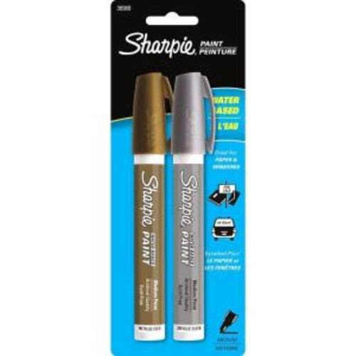 Sharpie Metallic Gold and Silver Medium Point Water-Based Poster Paint Marker (2-Pack)