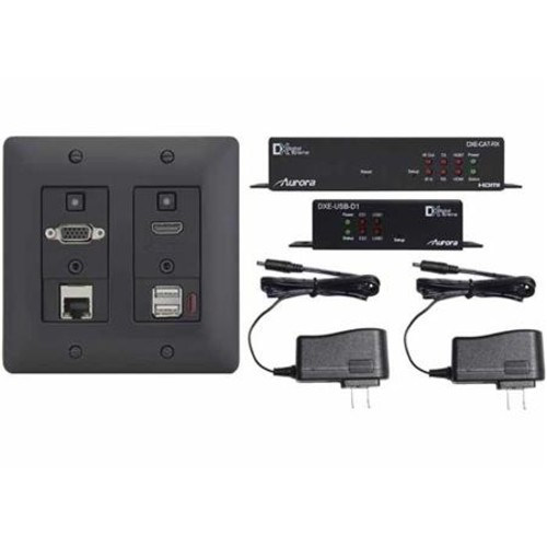 Aurora Multimedia 4K HDBaseT Wall Plate, USB Device Side Unit, RX & PSU - Black DXW-2EUH-S2-B-4K