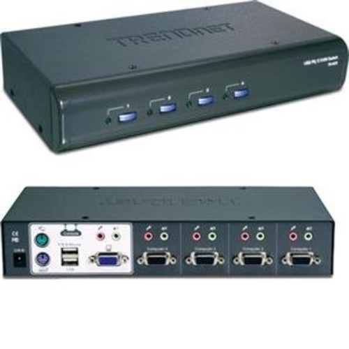 TRENDnet 4-Port USB/PS2 KVM Switch and Cable Kit with Audio, TK-423K [4 Port with Audio, VGA USB/PS2]