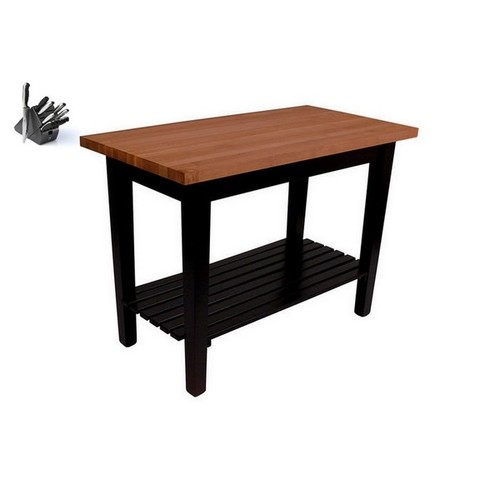 John Boos 60x30 Butcher Block Table RN-C6030C-S With Casters, Shelf, and Henckels13 Piece Knife Set