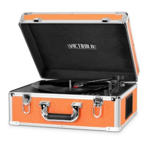 Victrola Full Size Bluetooth Turntable with CD - Orange with Aluminum Accents