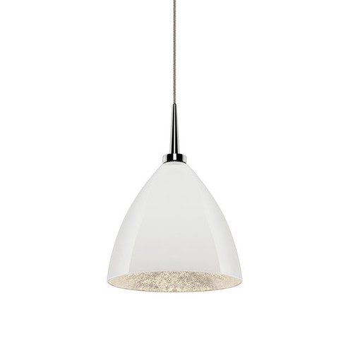 Bruck Lighting Cleo LED 4-inch Canopy Chrome Pendant with White Outer/Silver Inner Glass Shade