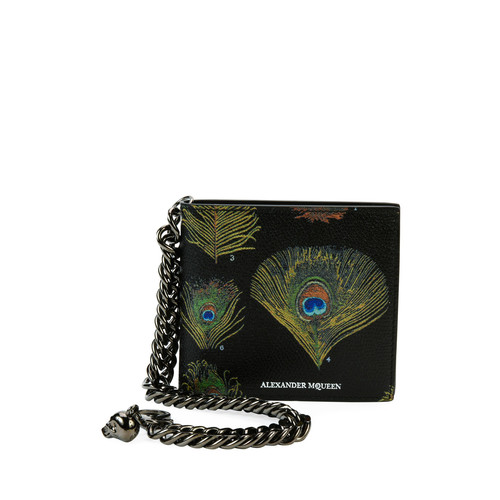 ALEXANDER MCQUEEN Peacock Feather Leather Wallet On Chain, Black