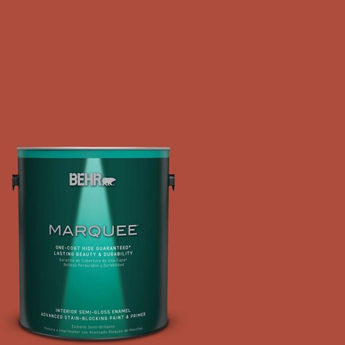 BEHR MARQUEE 1 gal. #MQ4-35 Torch Red One-Coat Hide Semi-Gloss Enamel Interior Paint