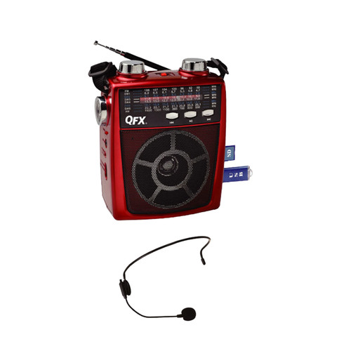 Quantum FX 97091895M QFX Portable Pa system USB/SD and AM/FM/SW1-6 Radio 8 Band Radio- Red