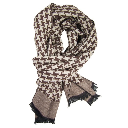 Brown & Khaki Houndstooth Scarf